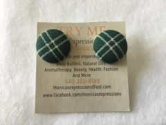 Small Green X Fabric Button Earrings