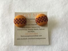 African Gold With Tracks Fabric Button Earrings