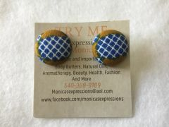 African Blue Squares With Brown On SidesFabric Button Earrings