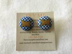 African Blue Squares With Brown In Middle Fabric Button Earrings