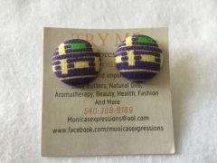 African Purple With Yellow Fabric Button Earrings