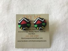 African Red Triangle Fabric Button Earrings