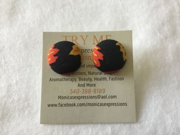 African Leaves Fabric Button Earrings
