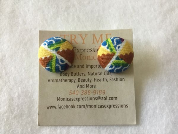 African Windmill Fabric Button Earrings