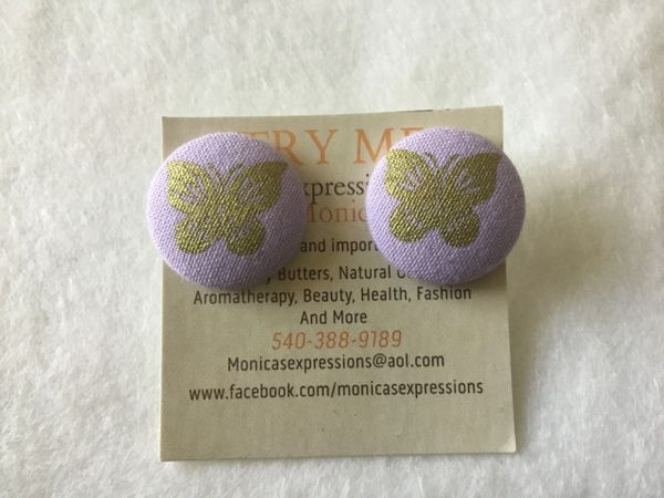 Large Lilac Butterfly Fabric Button Earrings