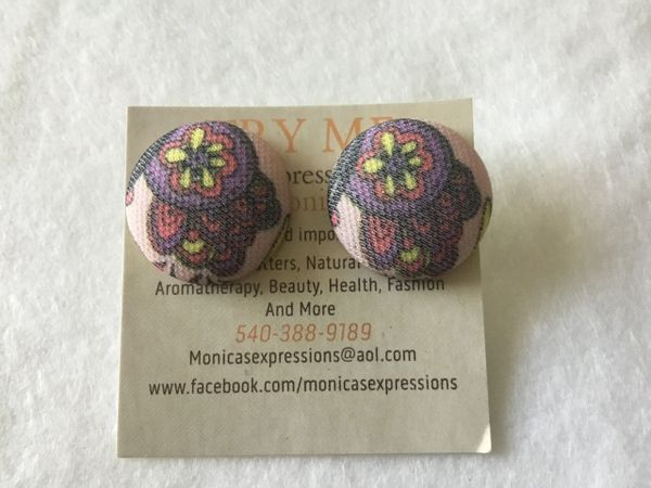 Large Light Flowers Fabric Button Earrings
