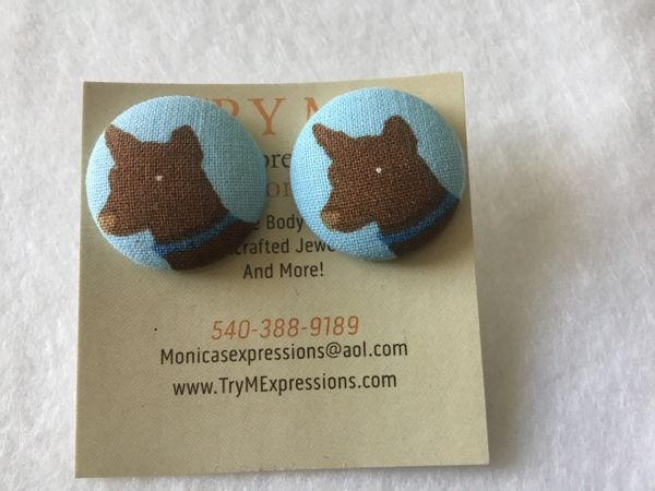 Large Dog Fabric Button Earrings