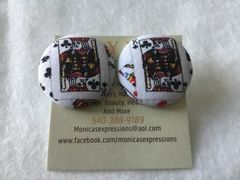 Large King Of Clubs Fabric Button Earrings