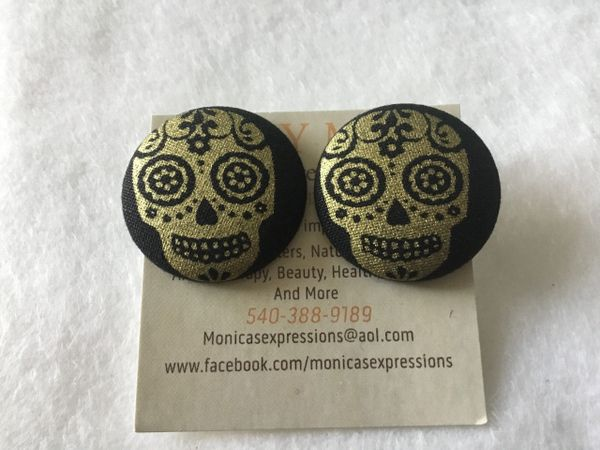 Large Gold Skull Fabric Button Earrings