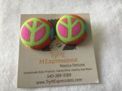 Large Green Peace Fabric Button Earrings