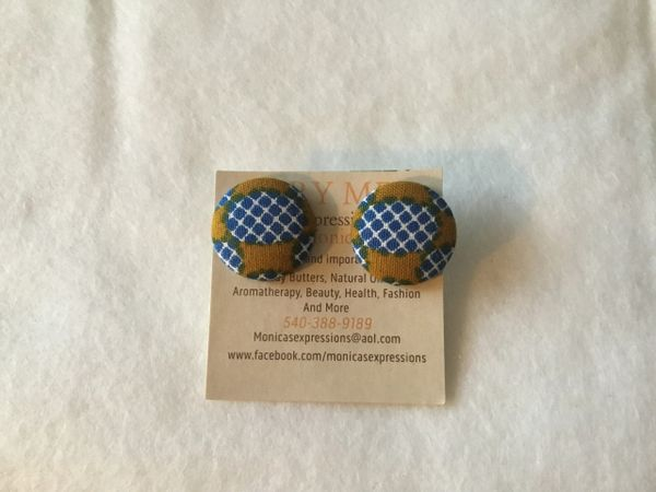 African Brown With Blue Dots In Middle Fabric Button Earrings