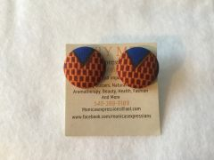 African Blue V Fabric Button Earrings