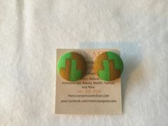 African Towers Fabric Button Earrings