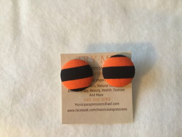 Black, Orange Stripe Fabric Button Earrings