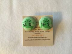 Green Frog Fabric Button Earrings