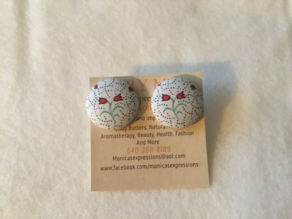 The Roses Fabric Button Earrings