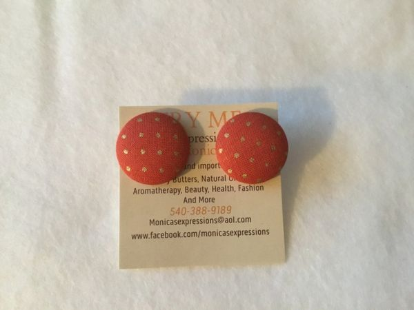 Orange with Gold Fabric Button Earrings