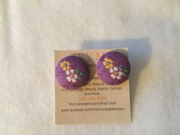 Purple With Flowers Fabric Button Earrings