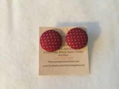 Burgundy With Dots Fabric Button Earrings