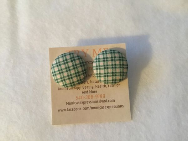 Green Plaid Fabric Button Earrings