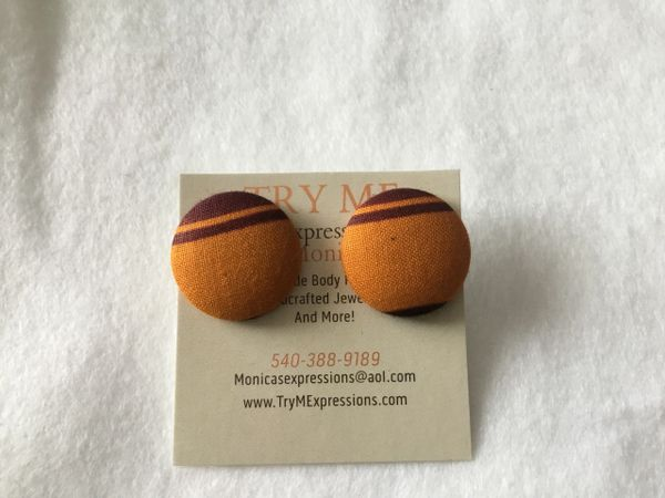 African Gold, Burgundy Fabric Button Earrings