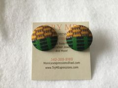African Green, Gold, Brown Fabric Button Earrings