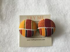 African Double Kente Fabric Button Earrings