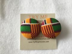 African Fire Lines With Stripes Fabric Button Earrings