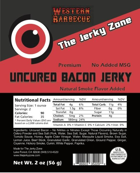 The Jerky Zone Western Barbecue Bacon Jerky
