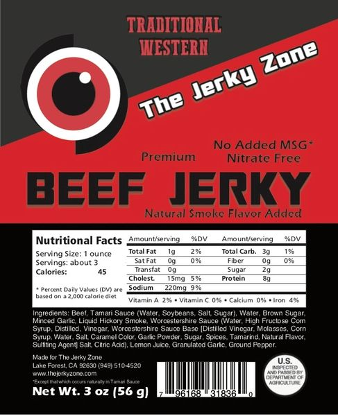 The Jerky Zone Traditional Western Beef Jerky