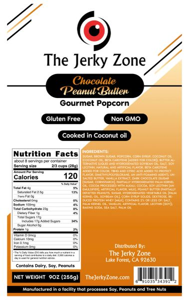 The Jerky Zone Chocolate Peanut Butter Gourmet Popcorn - 9oz