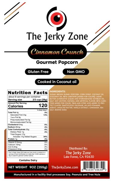 The Jerky Zone Cinnamon Crunch Gourmet Caramel 9oz