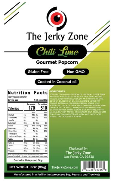 The Jerky Zone Chili Lime Gourmet Popcorn 3oz