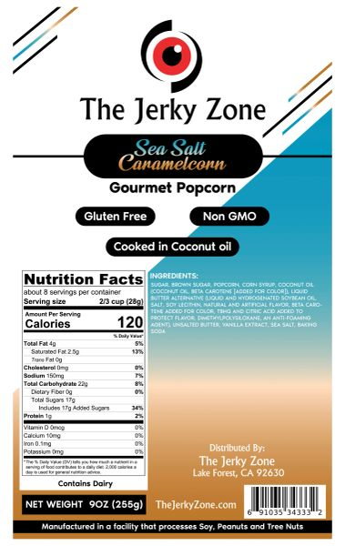 The Jerky Zone Sea Salt Gourmet Caramel Corn 9oz