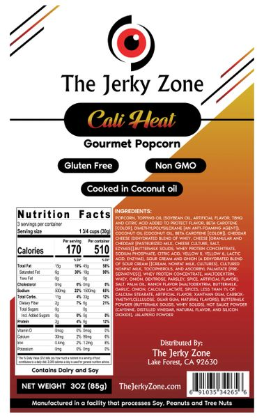 The Jerky Zone Cali Heat (Spicy Cheese) Gourmet Popcorn 3oz