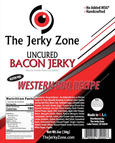 The Jerky Zone Western Barbecue Bacon Jerky