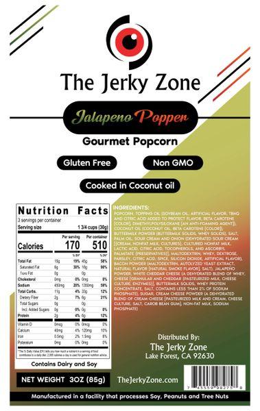 The Jerky Zone Jalapeño Popper Gourmet Popcorn 3oz