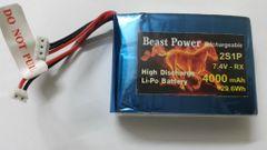 7.4 V 4000mAh Receiver 2S1P Lipo Battery Pack Beast Power