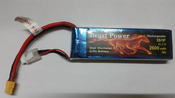 11.1V 2600 mAh 30C Lipo Battery Pack Beast Power