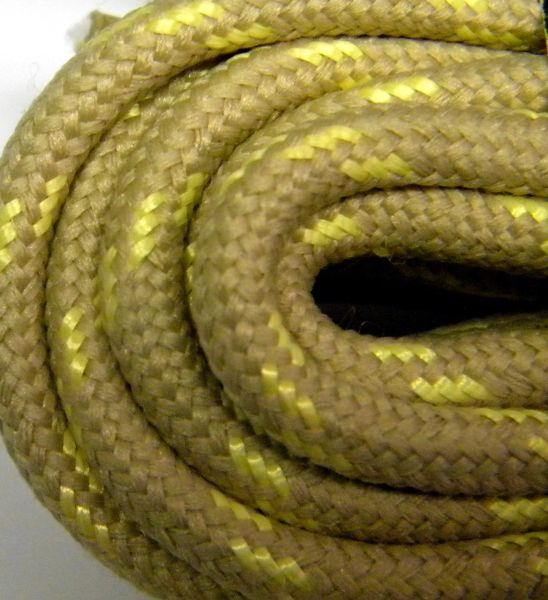 25' Feet Heavy duty TAN w/ YELLOW Kevlar(R) Reinforced Tie down Cord Utility String