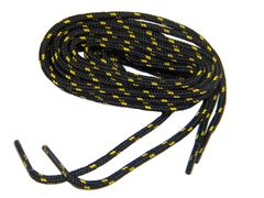 "ProBOOT(tm) ""Black w/ Gold"" Rugged Wear Long-Lasting Polyester Hiking Boot Laces - 2 Pair Pack"