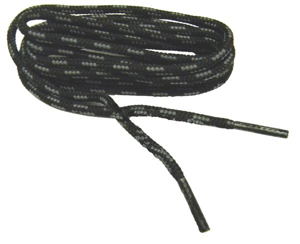 "ProBOOT(tm) ""Black w/ Gray"" Rugged Wear Long-Lasting Polyester Hiking Boot Laces - 2 Pair Pack"
