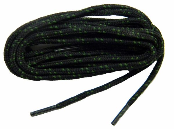 "ProBOOT(tm) ""Black w/ Moss Green"" Rugged Wear Long-Lasting Polyester Hiking Boot Laces - 2 Pair Pack"