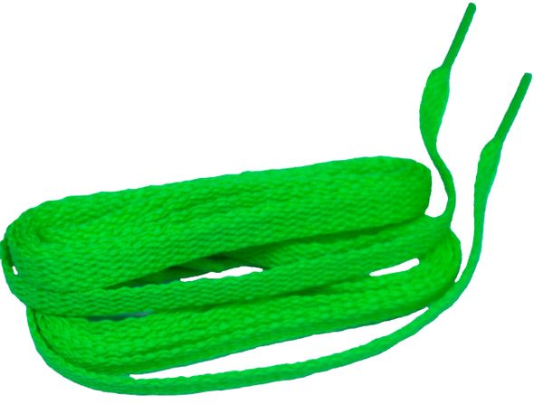 Hot Neon Green TeamLaces(Tm) Bulk 24 Pair Pack - 8mm Flat Athletic Shoelaces