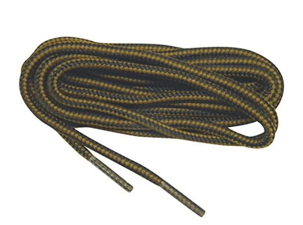 "ProBOOT(tm) ""Brown w/ Black"" Rugged Wear Long-Lasting Polyester Hiking Boot Laces - 2 Pair Pack"