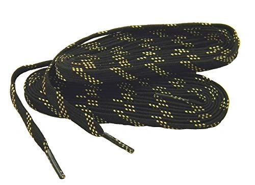 "ProTOUGH(tm) FLAT ""Black w/ Yellow-Natural"" Kevlar Reinforced Heavy Duty Boot Laces - 2 Pair Pack"