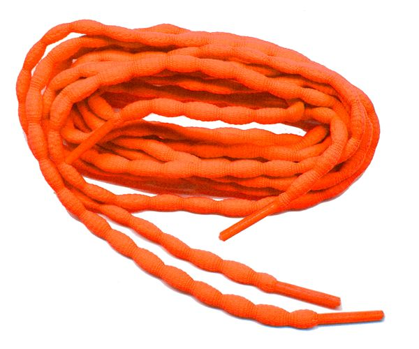 (2 Pair Pack) Neon Orange Bubble style stay tied Athletic running shoelaces