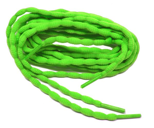 (2 Pair Pack) Neon Green Bubble style stay tied Athletic running shoelaces