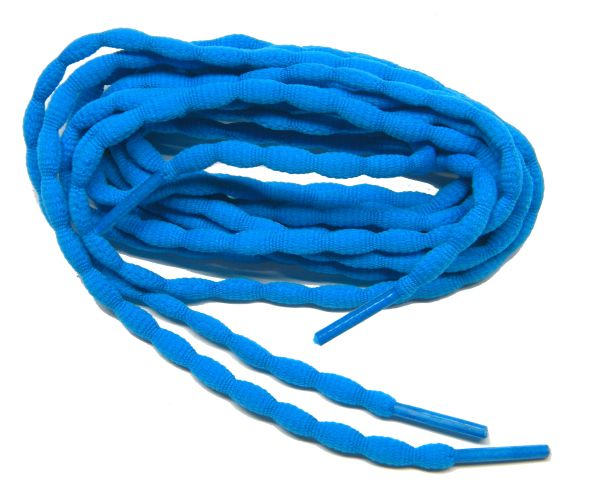 (2 Pair Pack) Neon Blue Bubble style stay tied Athletic running shoelaces