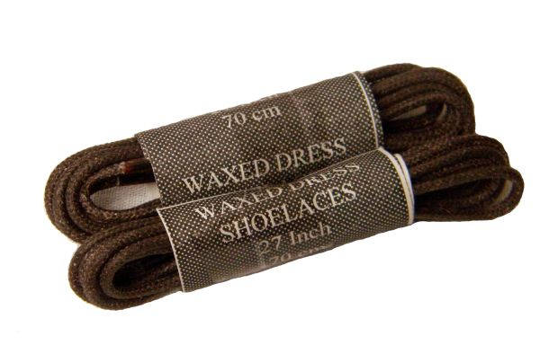 2 Pair - Waxed Wingtip Style Dress Shoelaces 2 mm Round Thin Waxed Laces (Brown)